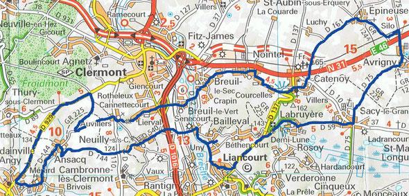Cyclo de Bailleval - Parcours de 55 km du 10 novembre 2019