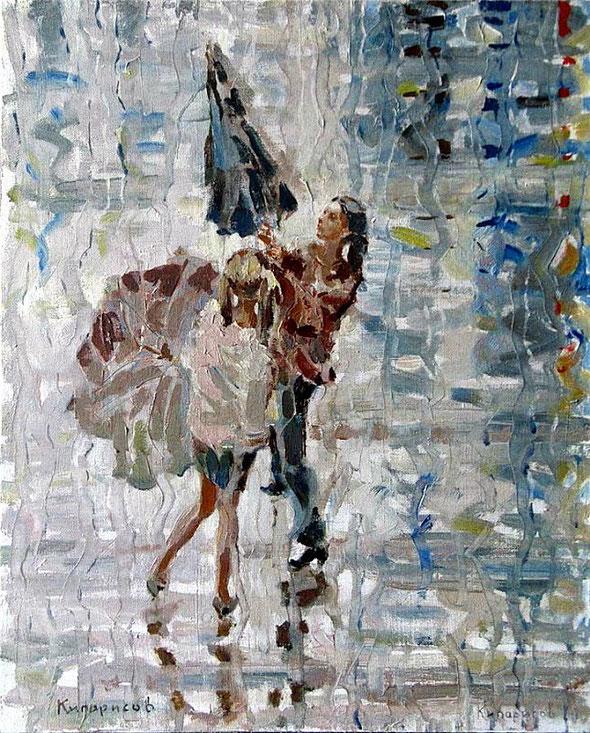 Л.Кипарисов. Девушки с зонтиками