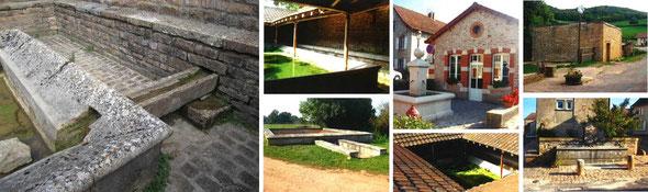 Lavoirs de Vallières (Sully), de Chalot, de Nanton, de Corlay, et une fontaine du bourg,  place Jean-Jean