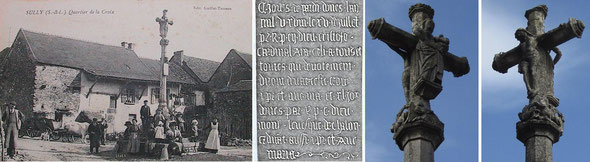 Sully le Bas. Le calvaire de 1528, avec sa plaque gravée