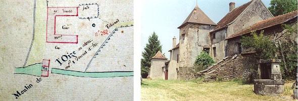 Plan du moulin de Loyse, «au citoien Tallerand» en 1792. Un groupe de maisons de Servelles.