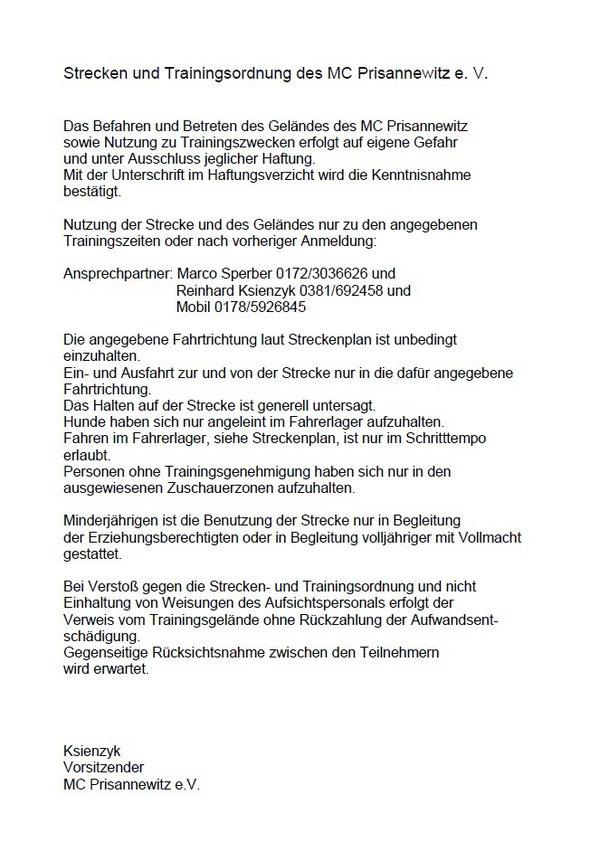 Strecken- und Trainingsordnung 2013