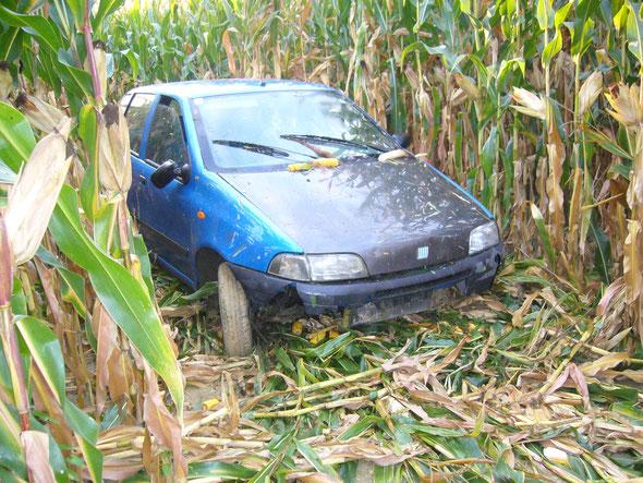 Verkehrsunfall - PKW in Acker (bzw. Graben)