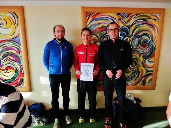Bronzeplatzierung in der Marathon-Mannschaftswertung: Marco Steiner, Steffen Wittmann und Markus Mallmann
