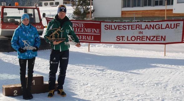 foto: KURZ -  Die Tagesschnellsten Eva Maria Mitterdorfer (TSU Raiko Obertilliach) und  Daniel Taschler (GS Forestale)