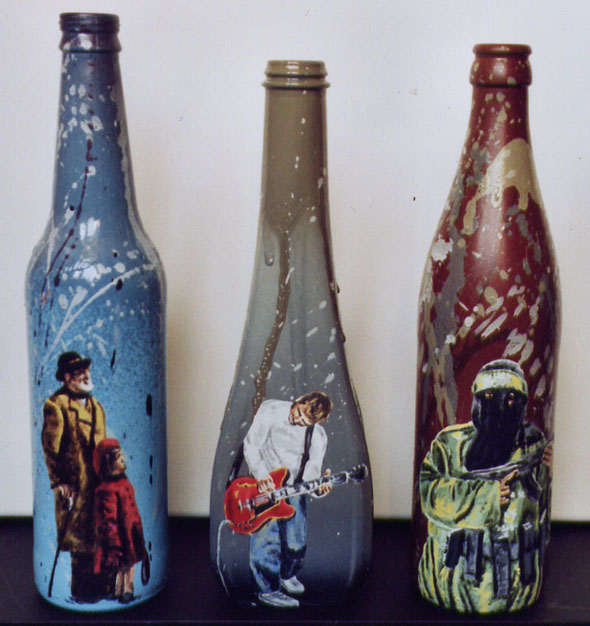 40 oz bottles - spraypaint, acrylics on glassbottles - 2004