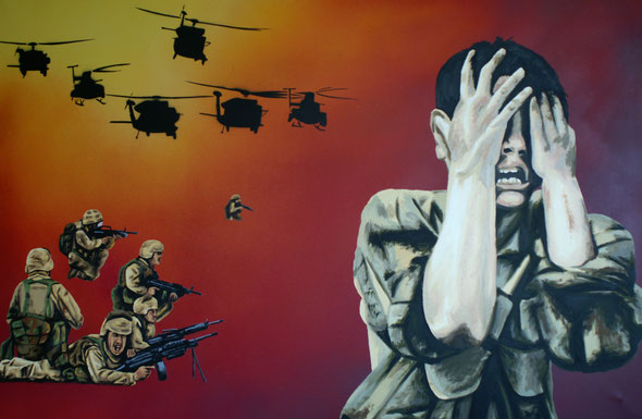 Children of War - spraypaint, acrylics, oil and stencil on canvas - 80x120 cm - 10.06.2006