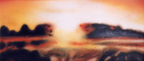 sunset - spraypaint on canvas - 30x70 cm - 13.10.2002