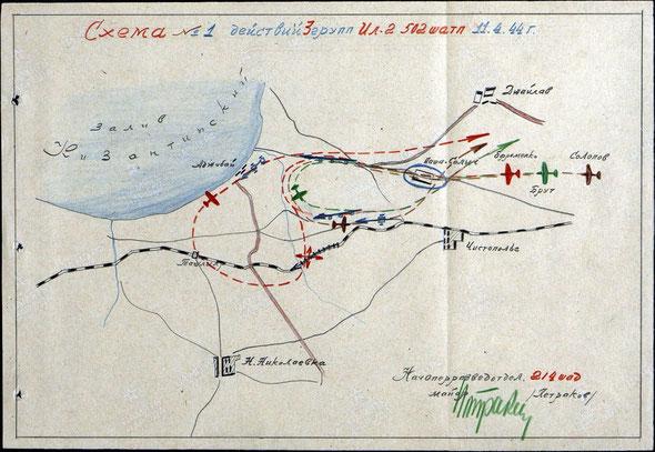 Схема действий 3 групп Ил-2 из 502-го ШАП (11.04.1944г.) / The scheme of actions of 3 Il-2 groups of the 502nd assault aviation regiment (11.04.1944)