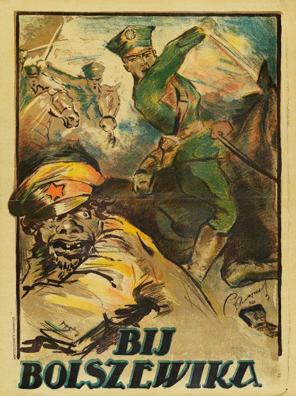 """«Бей большевика!». Польский плакат периода польско-советской войны 1919–1921 гг.  Polish propaganda poster """"Smash the Bolshevik!"""" of the Polish-Soviet war 1919-1921"""