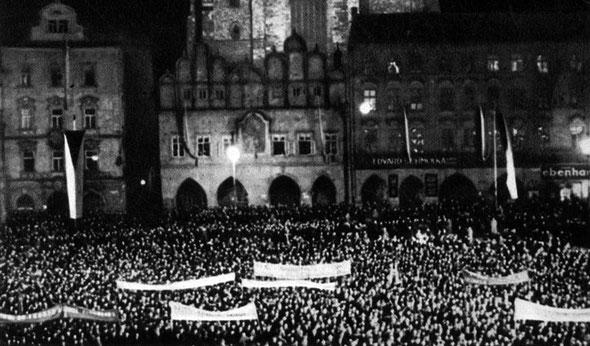 Демонстрация населения Праги в защиту национальной независимости страны. Сентябрь 1938 г.