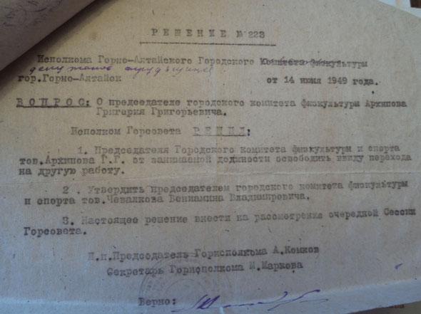 Решение №223 исполкома Горно-Алтайского Городского совета депутатов трудящихся.