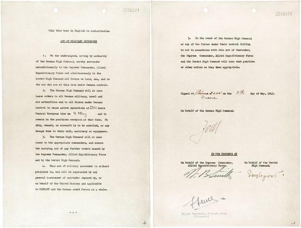 Акт о безоговорочной капитуляции Германии, Реймс, Франция, 7.5.1945 г.