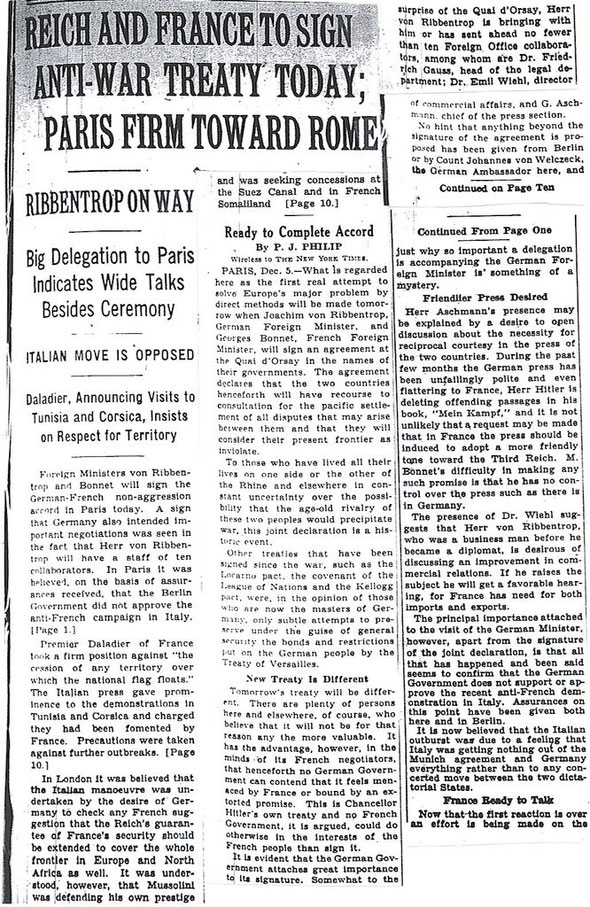 REICH AND FRANCE TO SIGN ANTI-WAR TREATY TODAY (12/6/38) Microfiche-New York Times archives | 12/6/38 | P.J Philip, Франко-германская декларация 1938 года, 6 декабря,  1938 French-German Declaration, December 6