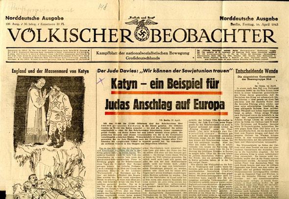 """«Фелькишер Беобахтер» от 16 апреля 1943 г.  Nazi Newspaper """"Velkischer Beobachter"""", April 16, 1943"""