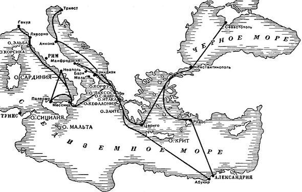 Карта важнейших продвижений отрядов эскадры Ушакова в Средиземном море (1798-1800 гг.)