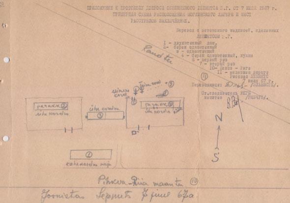 Карта-схема нацистского лагеря в Моглино, Псковская обл., по допросу Э.Г. Лемпетса