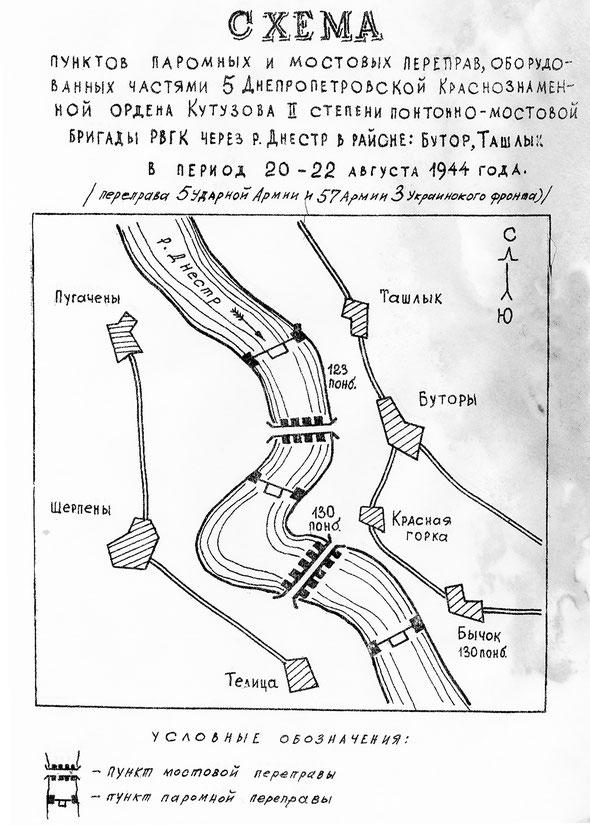 Паромные и мостовые переправы, оборудованные частями 5 пмбр через р. Днестр в районе Бутор, Ташлык, 20-22 августа 1944 г., 5 армия, 57 армия, 3-й Украинский фронт