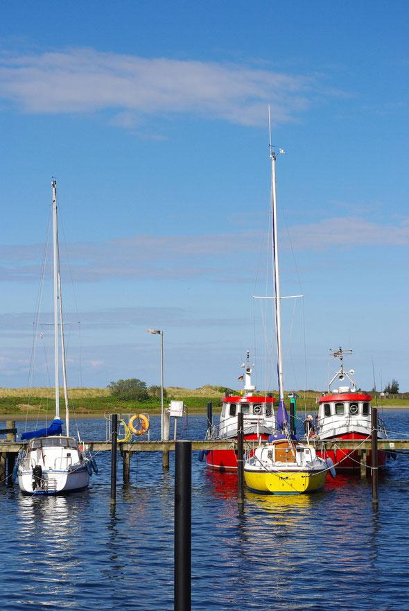 Farbenfrohe Boote im Yachthafen