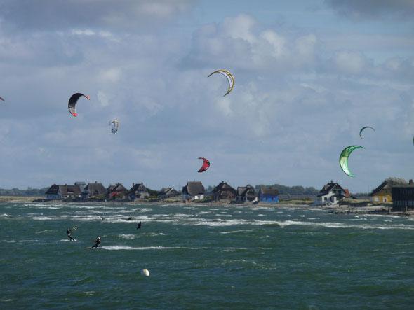 ... heute einmal bei viel Wind und somit viel Spaß für die Kiter
