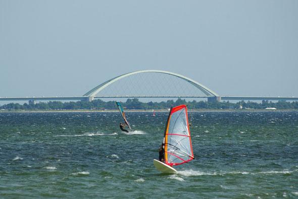 Surfer mit der Fehmarnsundbrücke im Hintergrund