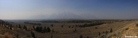 die Teton-Range in Rauch gehüllt