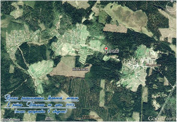 Схема расположения братской могилы в районе Иоенмяки  на лето 1940г. (только присутствие в квадрате).
