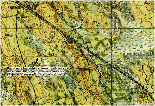 Схема расположения братских могил на карте масштаба 1:50 000
