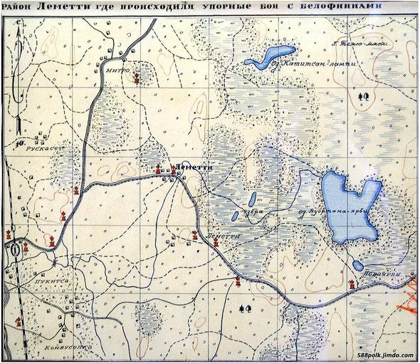 Схема расположения братских могил в районе Леметти летом 1940 г.