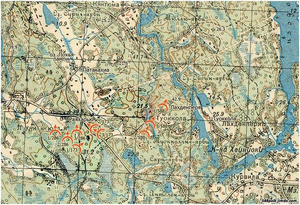 Расположение частей 90-й стрелковой дивизии на вечер 02.03.40 г.
