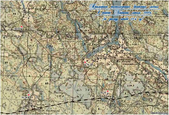 Схема расположения братских могил в районе  Хейниоки летом 1940 г.