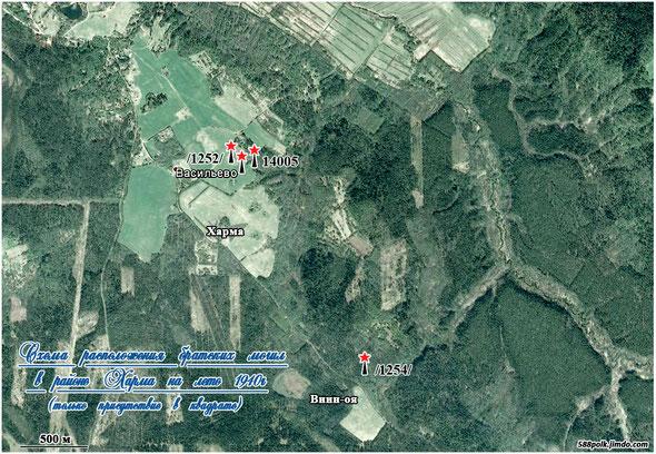 Схема расположения братских могил в районе Харма на лето 1940г. (только присутствие в квадрате).