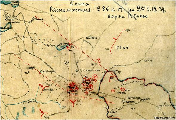 Схема расположения 286 сп на 02.00  1.12.1939 г. в районе Липола.
