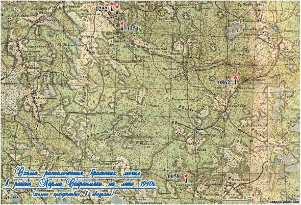 Схема расположения братских могил в районе Харма-Сайранмяки на лето 1940г. (только присутствие в квадрате).