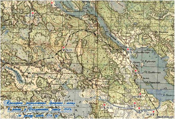 Схема расположения братских могил в районе р. Салменкайта летом 1940 г.