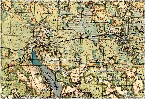 Расположение частей  90-й  стрелковой дивизии   01.03.40 г.  в районе  Хейниоки.