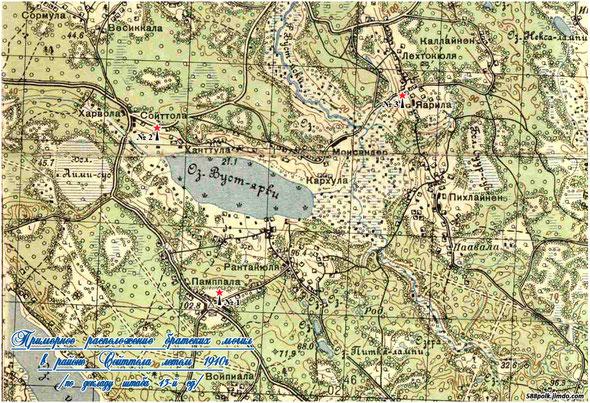 Схема расположения братских могил в районе  Сойттола летом 1940 г.