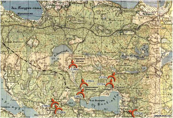 Расположение частей 90-й стрелковой дивизии 05.12.39 г.