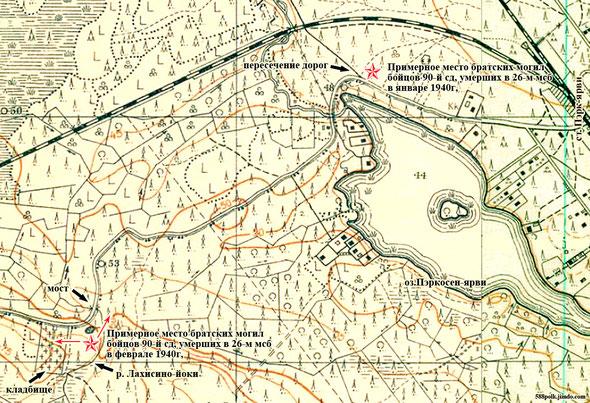 Примерное расположение братских могил бойцов,                         умерших в 26 МСБ в январе и феврале 1940 г.