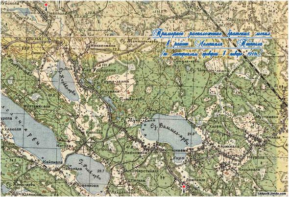 Схема расположения братских могил в районе Лемпияля- Пейппола в январе 1941 г.