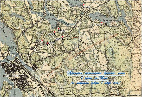 Схема расположения братских могил в районе ст. Тали в январе 1941 г.