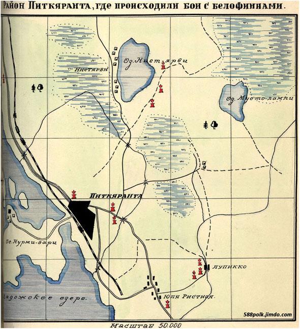 Схема расположения братских могил в районе Питкяранта летом 1940