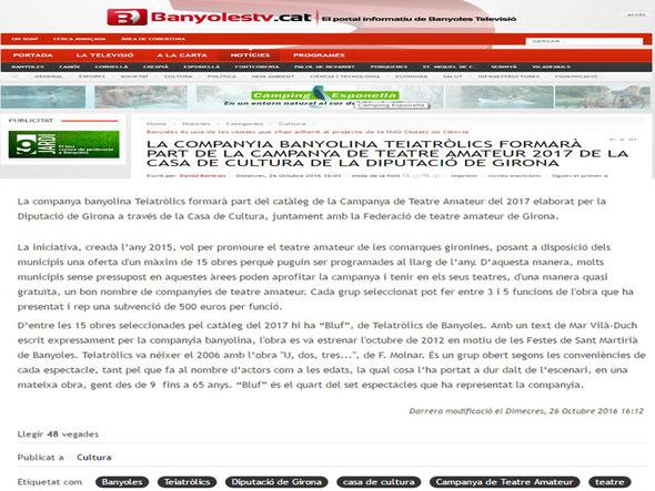 Banyoles Televisió (26/10/2016)