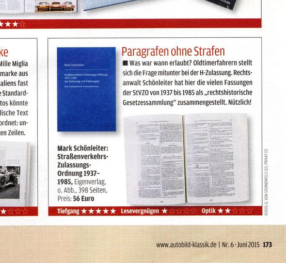 Oldtimerrecht Auto Bild Klassik Buchrezension Schönleiter