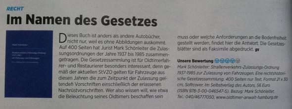 Oldtimerrecht Oldtimer Markt Buch Renzension Schönleiter