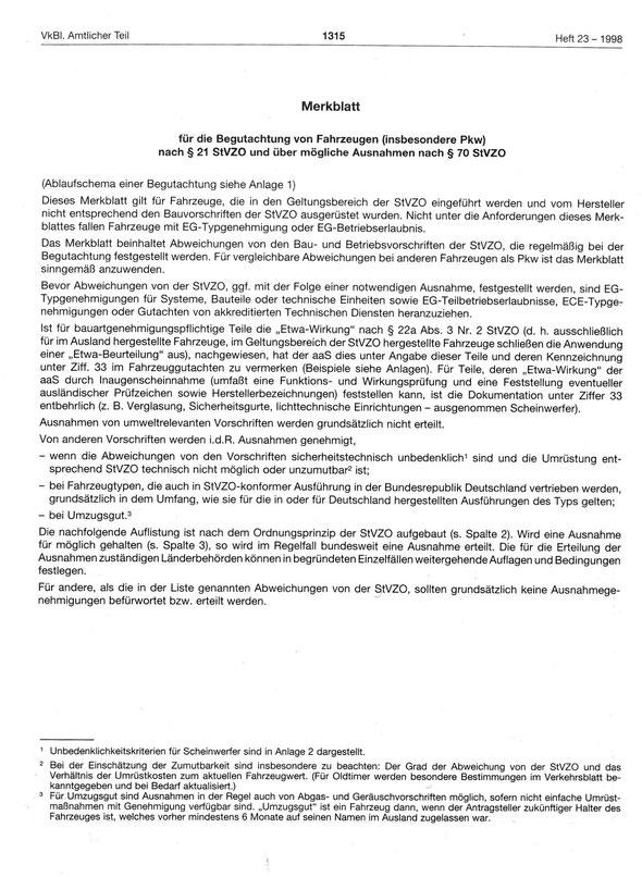 Oldtimerrecht Importfahrzeug Richtlinie § 21 StVZO § 70 StVZO