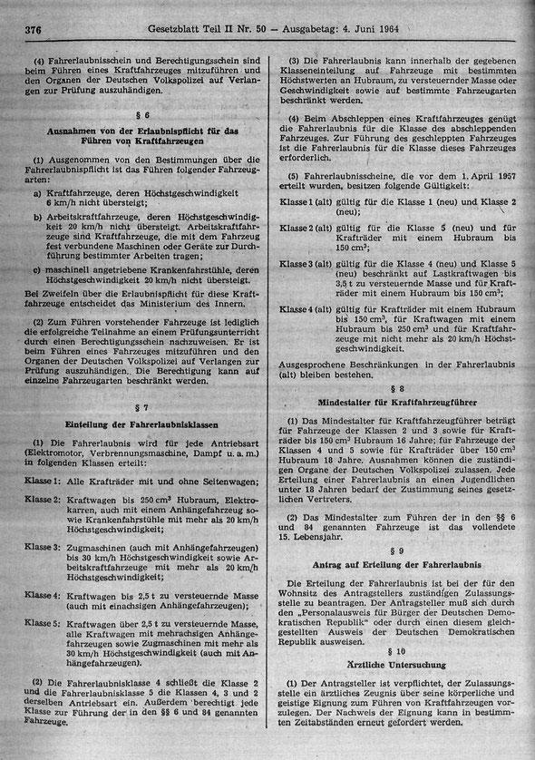 Oldtimerrecht StVZO DDR Straßenverkehrs-Zulassungs-Ordnung DDR