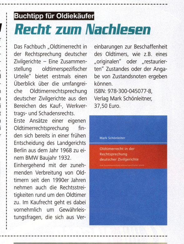 Oldtimerrecht Träume Wagen Buch Rezension Schönleiter