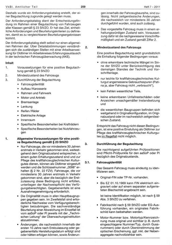 Oldtimerrecht Richtlinie für die Begutachtung von Oldtimern nach § 23 StVZO