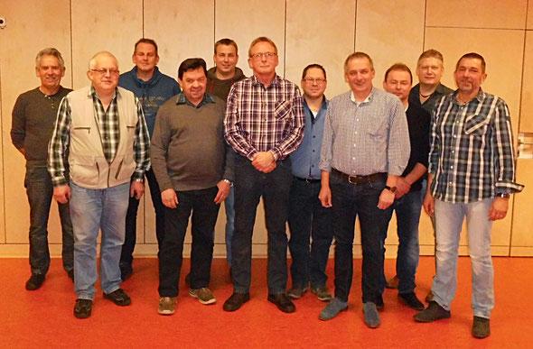 v.l.: Manfred Helmker, Dieter Bokelmann, Rene Hildebrandt, Hartmut Oehlsen, Christian Schmidt, Detlef Hildebrandt,  Marcus Pohlmann, Achim Lampe, Jens Fuchs, Sven Rettberg, Hans-Joachim Eggert